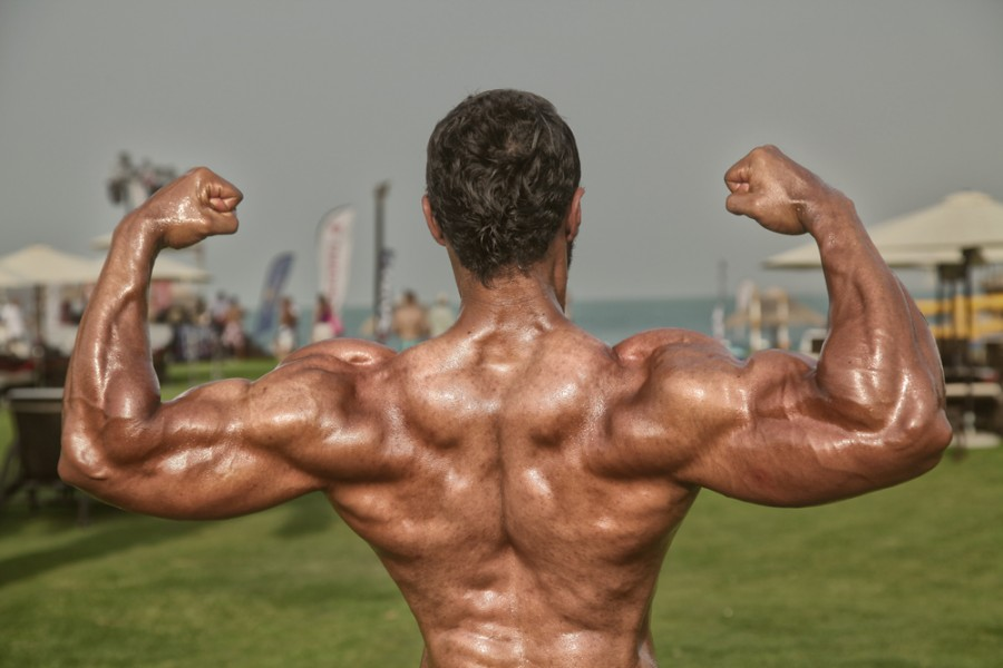 After retouch photo of body building coach